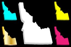 3D map of Idaho. United States of America, Gem State - white, yellow, purple, blue and gold - vector illustration royalty free illustration