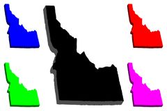 3D map of Idaho. United States of America, Gem State - black, red, purple, blue and green - vector illustration stock illustration