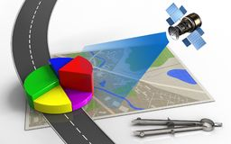3d map. 3d illustration of map with business data and circle tool Royalty Free Stock Photos