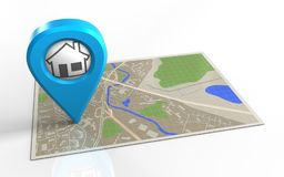 3d map. 3d illustration of map with home point and vector illustration
