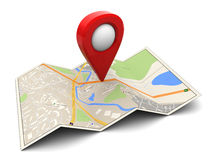 3d map. 3d illustration of map with red target pin Royalty Free Stock Photos