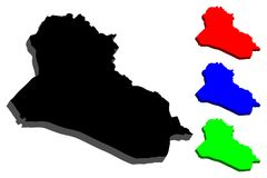3D map of Iraq stock illustration