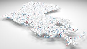3D Map of Louisiana - USA. | 3d Rendering, mosaic of little bricks - White and flag colors. A number of 3684 little boxes are accurately inserted into the Royalty Free Stock Photo