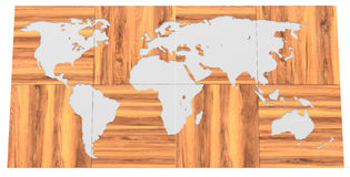 3d  map made of wooden blocks wallpaper Stock Photo