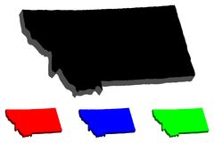 3D map of Montana. United States of America, Big Sky Country - black, red, blue and green - vector illustration stock illustration