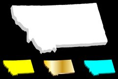 3D map of Montana. United States of America, Big Sky Country - white, yellow, blue and gold - vector illustration royalty free illustration