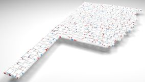 3D Map of Oklahoma - USA. | 3d Rendering, mosaic of little bricks - White and flag colors. A number of 3853 little boxes are accurately inserted into the mosaic Stock Image