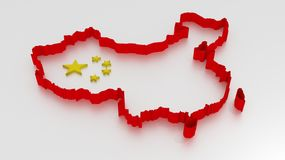 3D Map outline of China in red isolated on white Stock Image