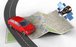 3d map paper. 3d illustration of map paper with car and Royalty Free Stock Photo