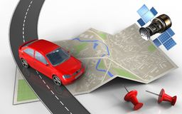 3d map paper. 3d illustration of map paper with car and red pins Royalty Free Stock Photography