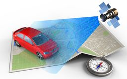 3d map paper. 3d illustration of map paper with car and satellite digital signal Royalty Free Stock Photos