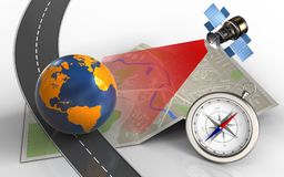 3d map paper. 3d illustration of map paper with earth globe and compass Stock Photo