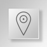 3D map pin Button Icon Concept Stock Images