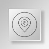 3D map pin Button Icon Concept Royalty Free Stock Image