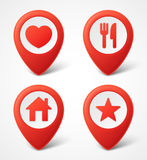 3d Map pointer icons. Map Markers set. Vector illustration Royalty Free Stock Photography