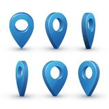 3d map pointer set. Maps pin inverted drop shaped blue icon to mark location. Vector flat style cartoon illustration isolated on white background Royalty Free Stock Image
