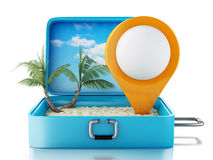 3d Map pointer in a travel suitcase. 3d renderer image. Map pointer in a travel suitcase. Beach vacation concept.  white background Royalty Free Stock Photography
