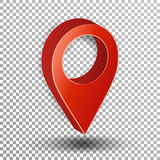 3d Map Pointer Vector. Red Navigator Symbol Isolated On Checkered Background Stock Image