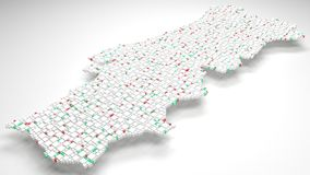 3D Map of Portugal - Europe. | 3d Rendering, mosaic of little bricks - White and flag colors. A number of 3769 little boxes are accurately inserted into the Royalty Free Stock Photo