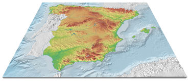3D map of the relief of Spain with seabed. Spectacular 3D map of the relief of Spain with seabed. The capitals locations are marked with a point Royalty Free Stock Photo