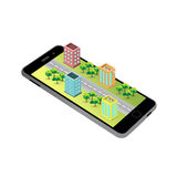 3D map on the screen of the mobile device. Stock Photo