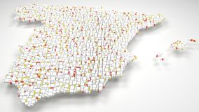 3d Map of Spain - Europe Royalty Free Stock Photos