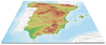 3D Map of Spain relief Royalty Free Stock Photo