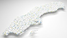 3D map of Sweden - Europe. Decorative map of Sweden - Europe | 3d Rendering, fall down of little bricks - White and Flag colors Stock Photos