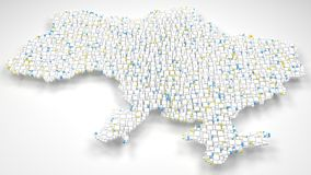 3D Map of Ukraine - Europe Stock Photography