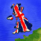 3D map of United Kingdom painted in the colors of UK flag. Illustration of stylized jelly p Stock Photography