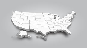 3D Map of United state of america.  stock illustration