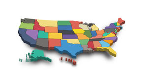 3D Map of United state of america Royalty Free Stock Images