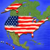 3D map of USA painted in the colors of USA flag. Illustration of stylized jelly pie vector illustration