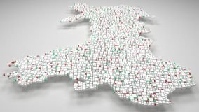 3D Map of Wales - UK. | 3d Rendering, mosaic of little bricks - White and flag colors. A number of 4622 little boxes are accurately inserted into the mosaic Vector Illustration