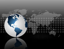 A 3d Map of the world on grey and black background with halftones. Glossy globe icon on elegant black background for internet and media design Royalty Free Stock Photos