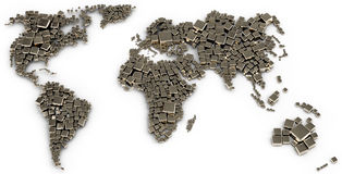 3d map of the world made out of blocks Stock Photos