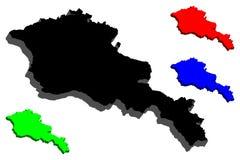 3D mapa Armenia ilustracja wektor