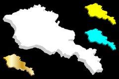 3D mapa Armenia ilustracji