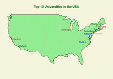 2d mapa da universidade da parte superior dez (10) nos EUA Fotografia de Stock Royalty Free