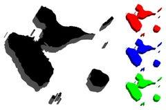 3D mapa Guadeloupe Zdjęcia Stock