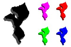 3D mapa Mozambik Obrazy Stock