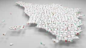 3D mapa Tuscany, Włochy - Zdjęcie Royalty Free