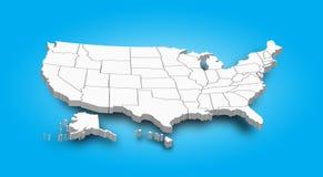 3D mapa Zlany stan America ilustracja wektor