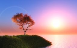 3D maple tree against a sunset sky. 3D render of a maple tree against a sunset sky stock illustration