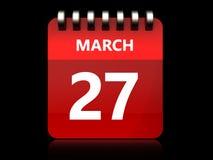 3d 27 march calendar. 3d illustration of march 27 calendar over black background vector illustration