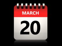 3d 20 march calendar. 3d illustration of 20 march calendar over black background Royalty Free Stock Images