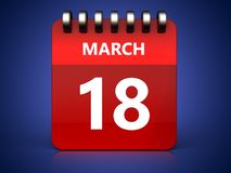 3d 18 march calendar. 3d illustration of march 18 calendar over blue background Stock Photos