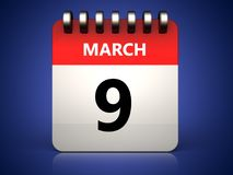 3d 9 march calendar Stock Image