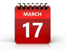 3d 17 march calendar. 3d illustration of march 17 calendar over white background Stock Image