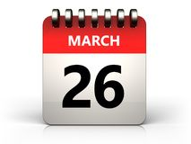 3d 26 march calendar. 3d illustration of 26 march calendar over white background Stock Image